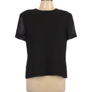 Adrianna Papell Black Short Sleeve Blouse Top